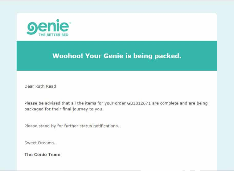 Genie beds email